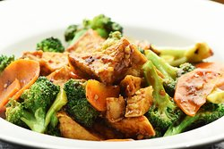 Broccoli Tofu Garlic - A Hearty Meal Not just for Vegans!  A tasty blend of our spicy garlic sauce, broccoli, carrots and crispy wok sauteed tofu. Made fresh to order! Healthy Never Tasted so Good!