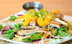 Asian Grilled Chicken Salad Fresh grilled chicken, iceberg lettuce, carrots, red cabbage, mandarin orange, crunchy rice noodles and toasted sesame seed with sesame ginger vinaigrette dressing.