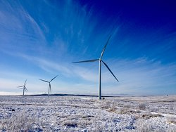 Turbines in the blue sky