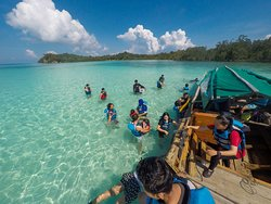 This is the beach when we first practice to snorkel.