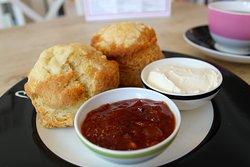 Savoury cheese scones served with cream cheese and tomato chutney