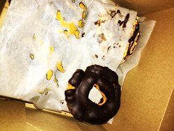 Missing is hubby's apple fritter. He said it was delicious! I really enjoyed the chocolate one!