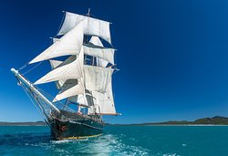 Solway Lass in all her glory, with all 11 sails up.