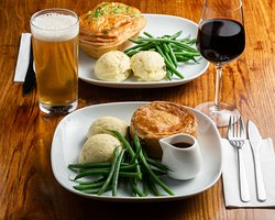 Pie, mash and greens