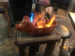 Flaming chorizo. 火焰西班牙臘腸