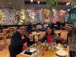 enjoying our 20th anniversary dinner