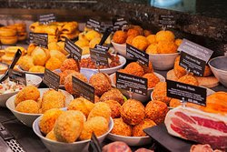 Deli counter is full of delicious treats including a large range of scotch eggs.