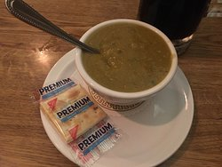 a cup of the split pea soup