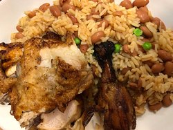Half-Chicken with rice and beans.