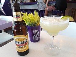 Margarita and local beer
