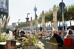 Rheinuferpromenade and its cafés...
