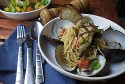 Grilled fish + clam aglio olio pasta