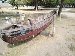 Old ruins of a long boat in Jaffna dutch fort .