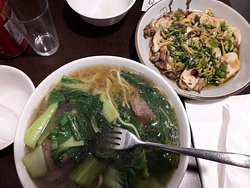 Chinese Beef Noodle Soup and Steamed Chicken with Ginger, Spring Onion, Rice Wine & Soy Sauce