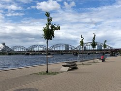 You could spend many hours relaxing by the Daugava river
