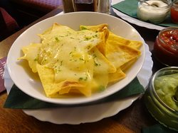 Nachos, £5.95 with salsa and guacamole dips.