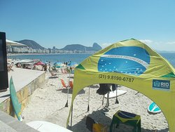 A tent featuring the Brazilian flag (seen near the south end of the Beach)