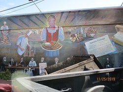 Mural on the side of the restaurant building