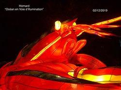 Homard à pince mobile de l'exposition «Océan en Voie d'Illumination» du Jardin des Plantes de Paris