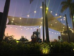 Rooftop bar/restaurant at night
