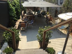 Enjoy an alfresco drink or snack in our cosy outdoor terrace.