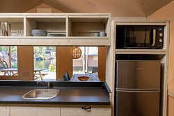 Larger kitchens in tents with 6 beds