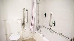 Premier Inn accessible bathroom with lowered bath