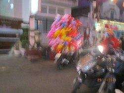 locals with balloons