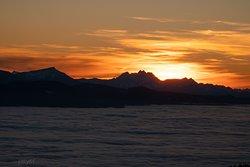 Die Rigi und der Pilatus bei Sonnenuntergang