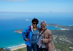 Lei and Faye on top of Mount Oberon, Wilsons Promontory National Park.