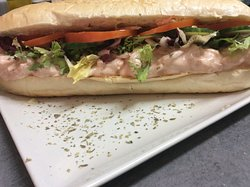 Chefs famous prawn baguette with homemade to order Mery rose sauce.
