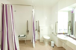 Premier Inn accessible wet room with walk in shower