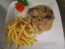 Traditional Portuguese Pork Chunks with Mushrooms and cream sauce
