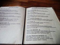 Tap Room menu