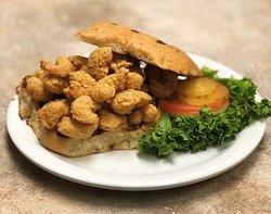 Shrimp sandwich on jalapeno cheddar bun