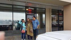 My sister Khursheed Sohail, my daughter Rahila, and son-in-law Ghazanfar Ali Khan entering in the restaurant.