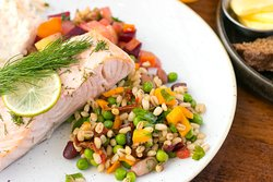 Salmon Salad at the Old Music Shop Restaurant Dublin Ireland. Spring | Summer Menus