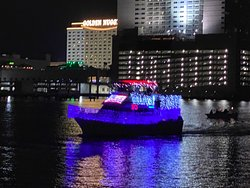 We got to see each decorated boat as they made their way back past us.
