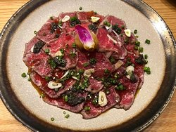 Favorite dish, beef tartare with truffle shavings, amazing..
