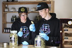 Tyler and Austin budtending