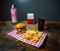 Beef Brisket: Beef brisket patty, American cheese, pickled gherkin, tomato sauce, American mustard