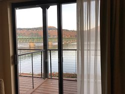 From room out to patio deck , view of Columbia River and Hood River Bridge