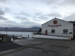 the distillery with Jura in the background