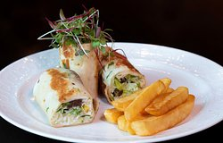 Lunch Menu Main Course - Falafel Wrap - Homemade falafel, tahina sauce, lettuce, french fries.
