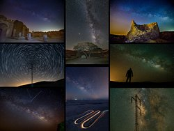 Milky Way Photography --- Milky way night – An evening of amazingly clear desert skies, shooting the Milky way with Acacia trees, outdoor sculptures, mountains and vehicle light trails. (All photos © Ilan Shacham)
