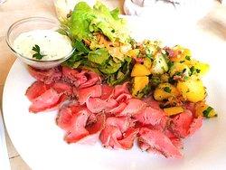 Cold Cut Roast Beef, Remoulade Sauce, Side Salad, Roast Potatoes
