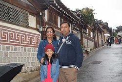 """Great Imperial type of houses in """"Bukchon Hanok Village""""."""