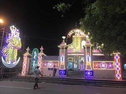 Illuminated Church premises during the Annual Feast