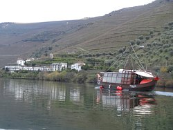 Passing another tour boat on the Douro River.