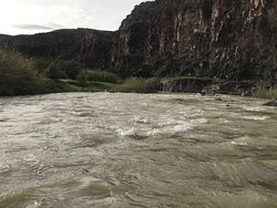Rafting along the Rio Grande.  There were a few places with rapids, but nothing dangerous or worrisome.  Mostly, we had a nice slow current pushing us along.